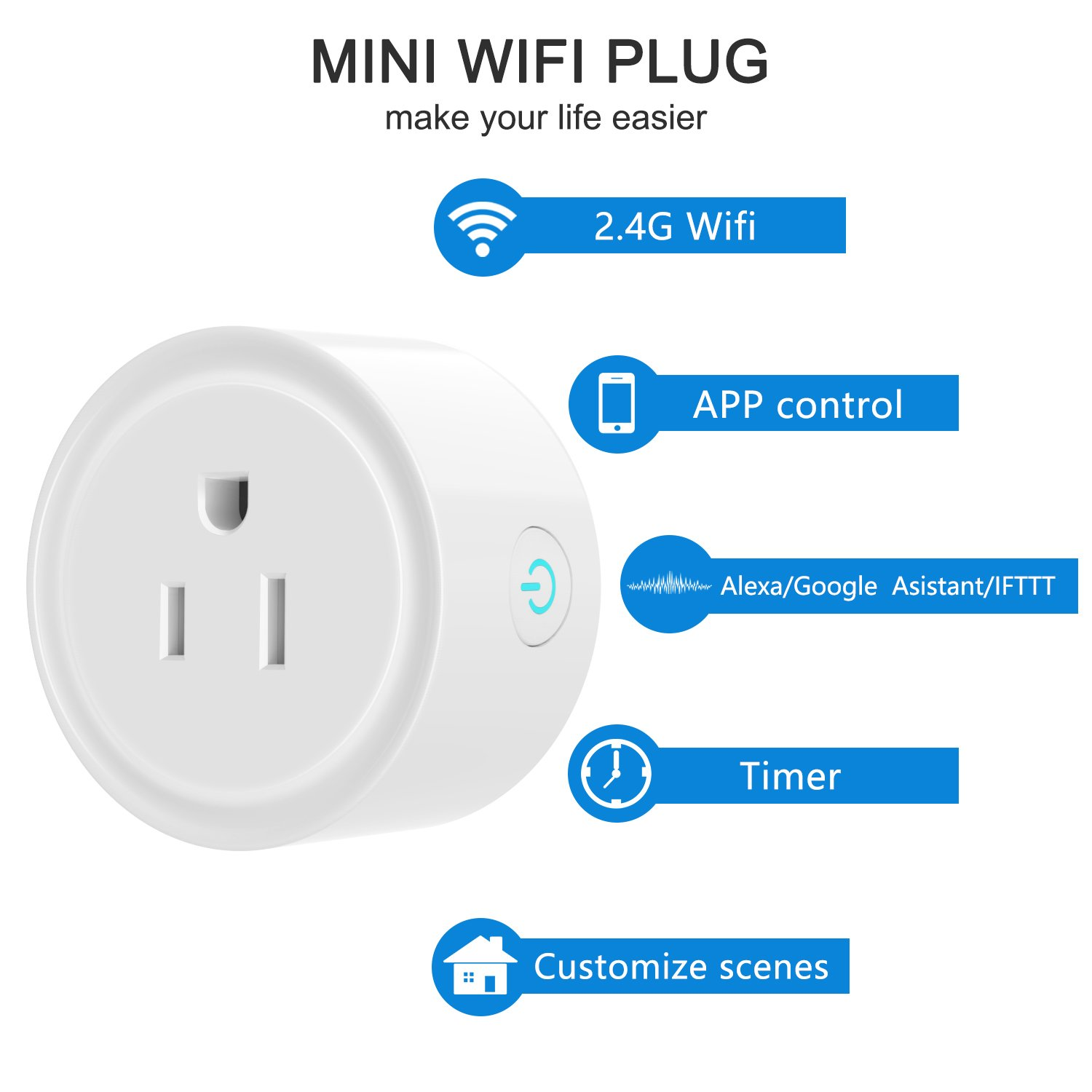 Smart Plug Works with Amazon Alexa/Google Home/IFTTT, No Hub Required Wifi Enabled Smart Outlet 4 Pack by Luntak (Image #2)