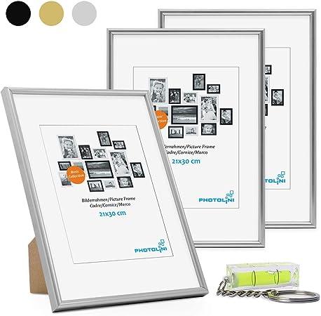 Lot de 3 Cadres Photos 10 x 15 cm Modernes en Plastique Noir Cadre /étroit avec Plaque en Verre et Accessoires