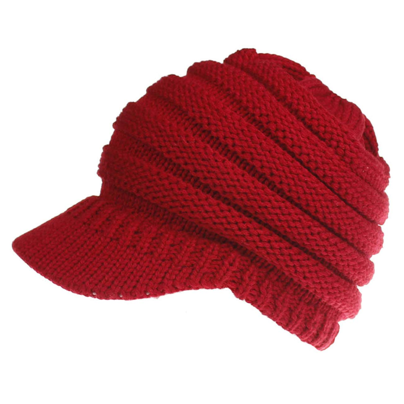 WEILAI Winter Ponytail Messy BeanieTail Womens Knit Solid Ribbed Baseball Hat Cap
