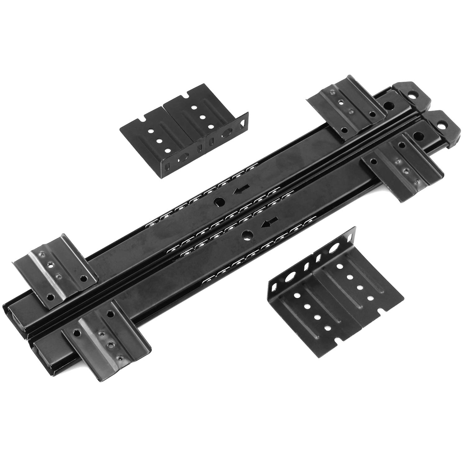 Lind Kitchen 1-Pair 14 inch 350mm Keyboard Slide Super Smooth Mute Ball Bearing Pull Out Tray Adjustable Hanging Bracket Suspension Track Guide Rail Fold Telescopic Drawer Runners Black