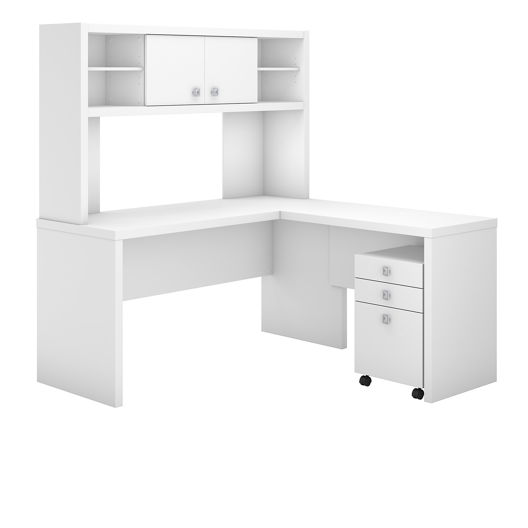 Office by kathy ireland Echo L Shaped Desk with Hutch and Mobile File Cabinet in Pure White