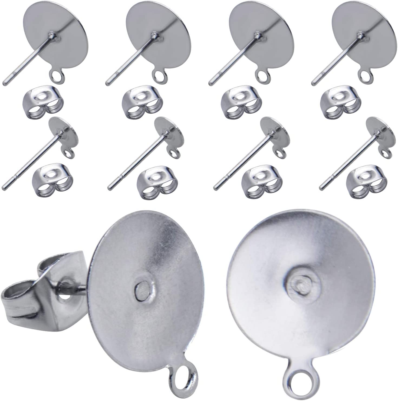 200PCS 6mm Flat Pad Blank Base Stud Earring DIY Jewelry Making Findings DP
