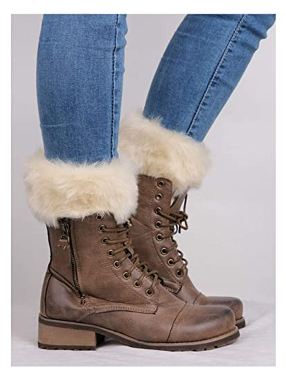 Barogirl Womens Faux Fur Boot Socks Crochet Boot Cuffs Leg Warmers Socks  Winter Cable White Furry 0b903143f2