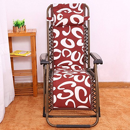 DIDIDD Plus cotton thick folding chairs recliner reinforced steel pipe folding chairs afternoon chair lazy loungers (style optional),A by DIDIDD (Image #3)