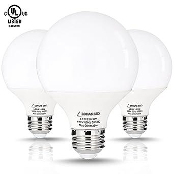 LOHAS 9 Watt LED Globe Bulb(with UL Listed), G25 LED Bulbs, 60Watt Vanity  Light Bulbs Equivalent, ...