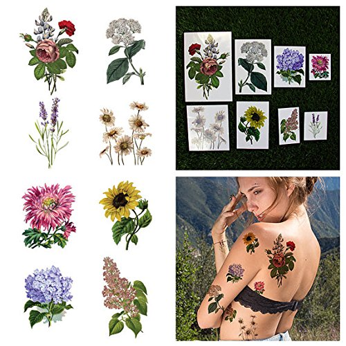 Tattify Colorful Flower Temporary Tattoo Pack - Potpourri (Complete Set of 16 Tattoos - 2 of each Style) - Individual Styles Available by Tattify