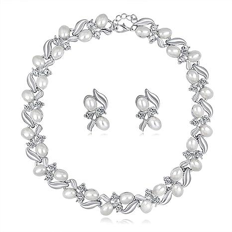 7c0ad824379f Scrox 2pcs Boda Juego de Joyas Mujeres Hermoso Novia Joyería Conjunto  Exquisito Rhinestone Colgante Collar Perla