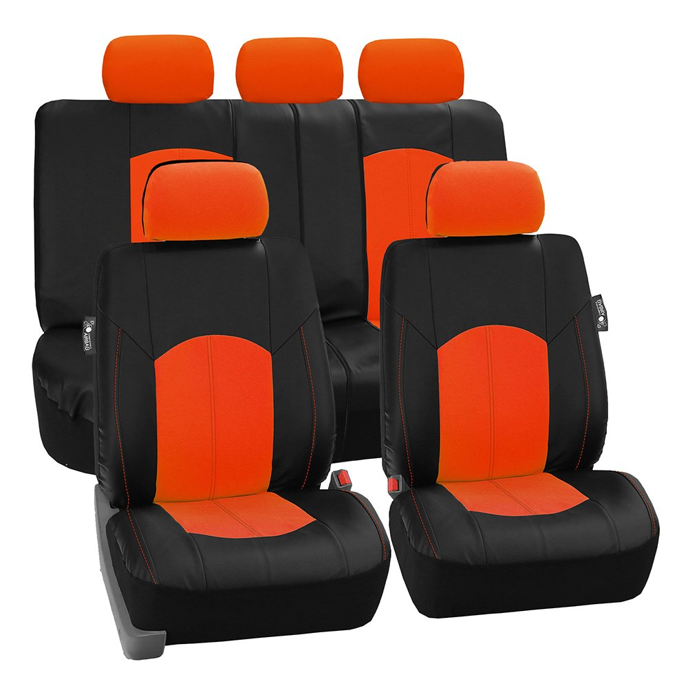 FH Group PU008ORANGE115 Full Set Seat Cover Perforated Leatherette Airbag Compatible and Split Bench Ready Orange