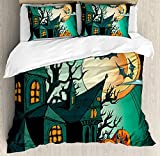 VAMIX Halloween Decorations Duvet Cover Set, Haunted Medieval Cartoon Bats in Twilight Gothic Fiction Spooky Art, 3 Piece Bedding Set with Pillow Shams, Queen/Full, Orange Teal