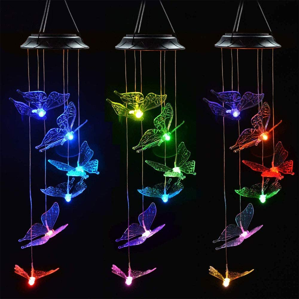 EiGreen Wind Chime,Solar Lights Chimes,Butterfly Wind Chimes led Wind Chime Outdoor Decor,Yard Decorations Solar Light Mobile,Memorial Wind Chimes,3 Butterflies