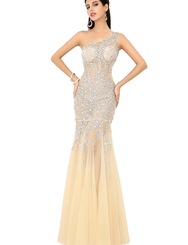 Clearbridal Women's One Shoulder Sequins Champagne Prom Dresses UK12
