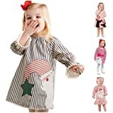Toddler Baby Girls Christmas Dresses Long Sleeve Ruffle Striped Santa Claus Print Casual Party Outfits Princess Dress