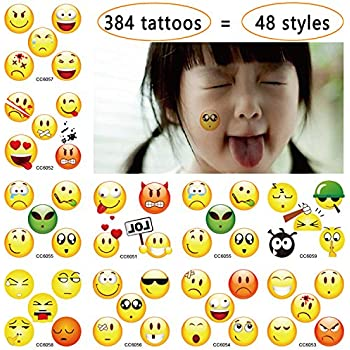 Pack of 384 Emoji Temporary Tattoos - 48 Different Designs:3/4 Inch Wide