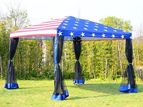 tamsun 10 x10 patio Pop Up carpa toldo W/mosquitera nosotros bandera: Amazon.es: Hogar
