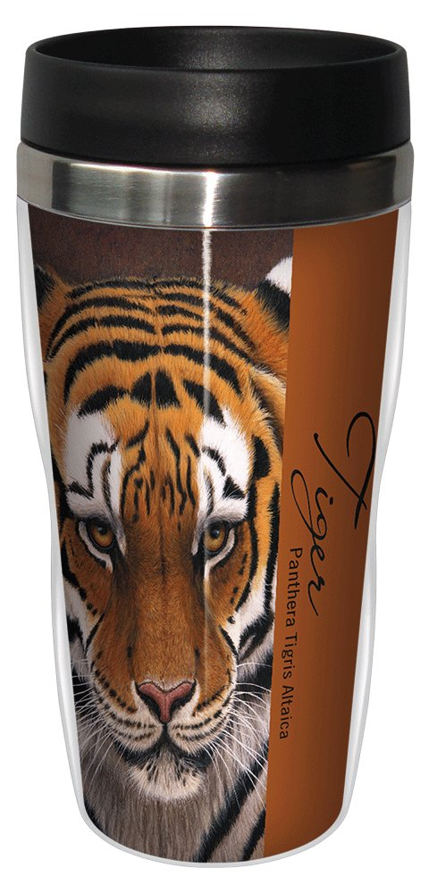 Siberian Tiger Travel Mug, Stainless Lined Coffee Tumbler, 16-Ounce -  Jeremy Paul - Cute Gift for Big Cat Zoo Lovers - Tree-Free Greetings 25732