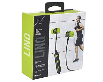 iJoy- Linq Wireless Bluetooth Magnet Earbuds w/Built in Mic Green/Black