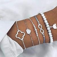 Yean Juego de 5 pulseras de cristal de estilo bohemio, con diseño de corazón de plata con elefante ajustable y…