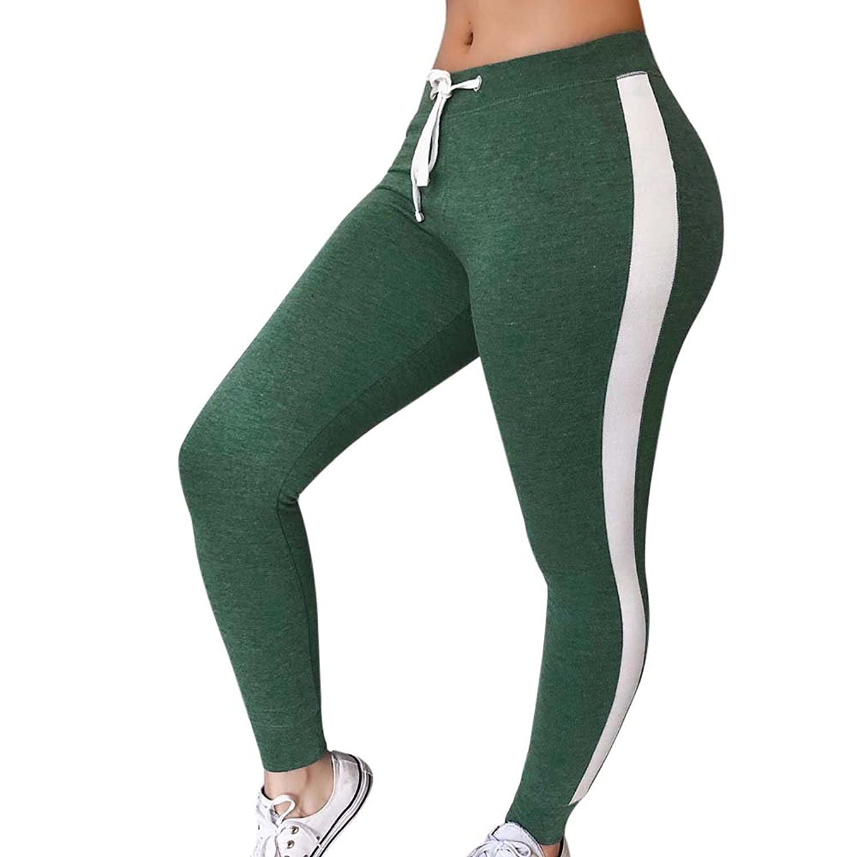Oeak Damen Sporthose Leggings Seiten Streifen Strumpfhose