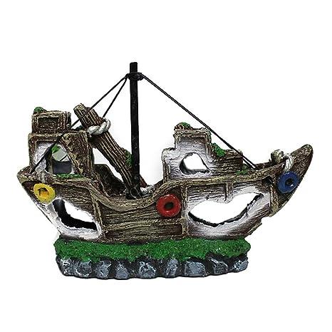 Crewell Adorno de Resina para Acuario Barco o Barco, Decoración de Paisaje, B