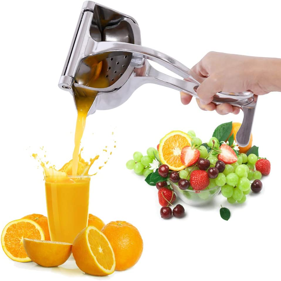 Stainless Manual Juicers, Stainless Steel Squeezer, Heavy Duty Hand Squeezer, Manual Citrus Press Juicer for Orange Juice, Apple Juice (Silver)