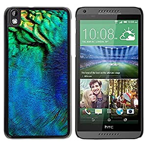 Jordan Colourful Shop - Peacock Feather Macro Neon Teal For HTC DESIRE 816 Personalizado negro cubierta de la caja de pl????stico