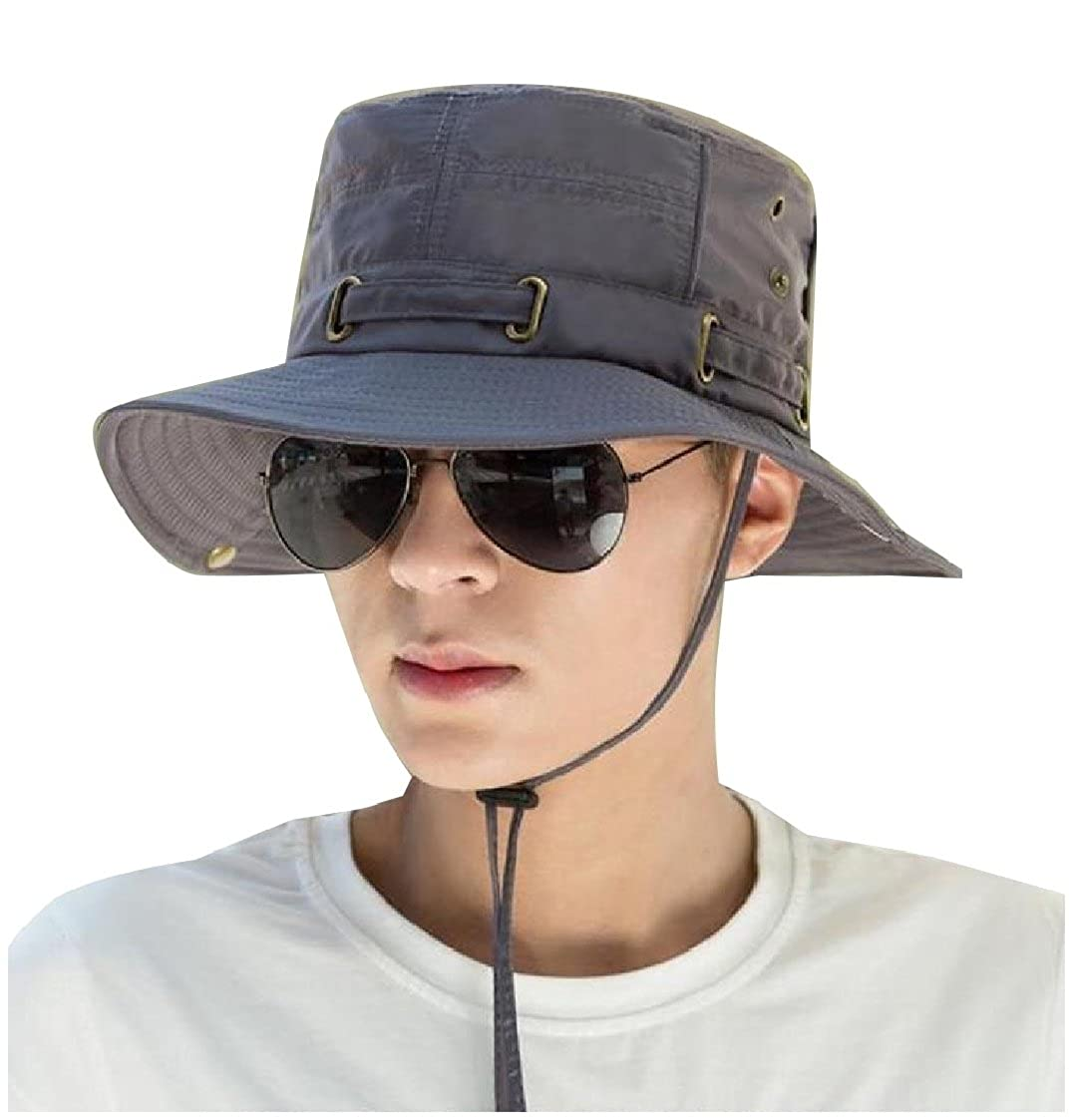 2d0f53f236558 Amazon.com  Coolred-Men Simple Outdoor Bush Hat Pure Color Chin Straps Sun  Hats Army Green OS  Clothing