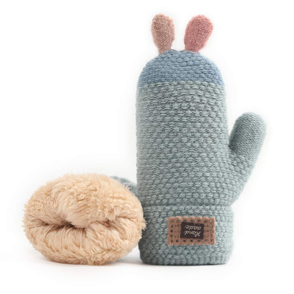 Xinqiao Winter Warm Cute Knit Mitten Cold Weather Glove for Boys Girls 3-6 Years