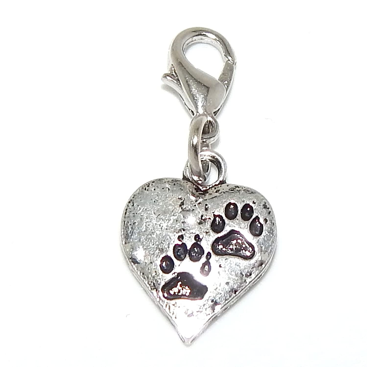 """cheap Pro Jewelry Dangling """"Paw Prints on Heart"""" Clip-on Bead for Charm Bracelet 29100"""
