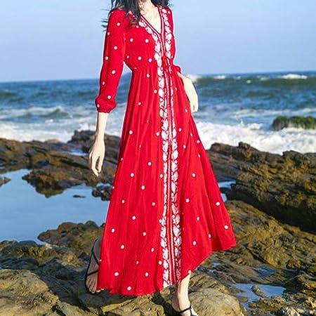 MZMM Vestido de Rodillas Bordado Rojo Retro Falda Larga Playa ...
