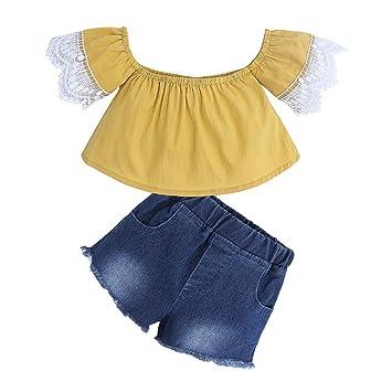 c34f2077bbb Trendy Summer Short Set For Toddler Kids Baby Girl Short Sleeves Off  Shoulder Lace Hem Shirt