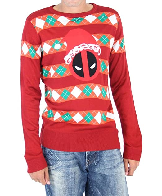 26f395580d5 Marvel Deadpool Santa Hat Stripes Adult Red Ugly Christmas Sweater (Adult  X-Small)
