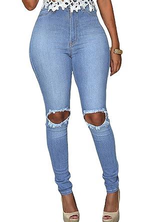 0b11c88c00497 LEO BON Womens Light Blue Wash Ripped Knee Hole Skinny Jeans at ...