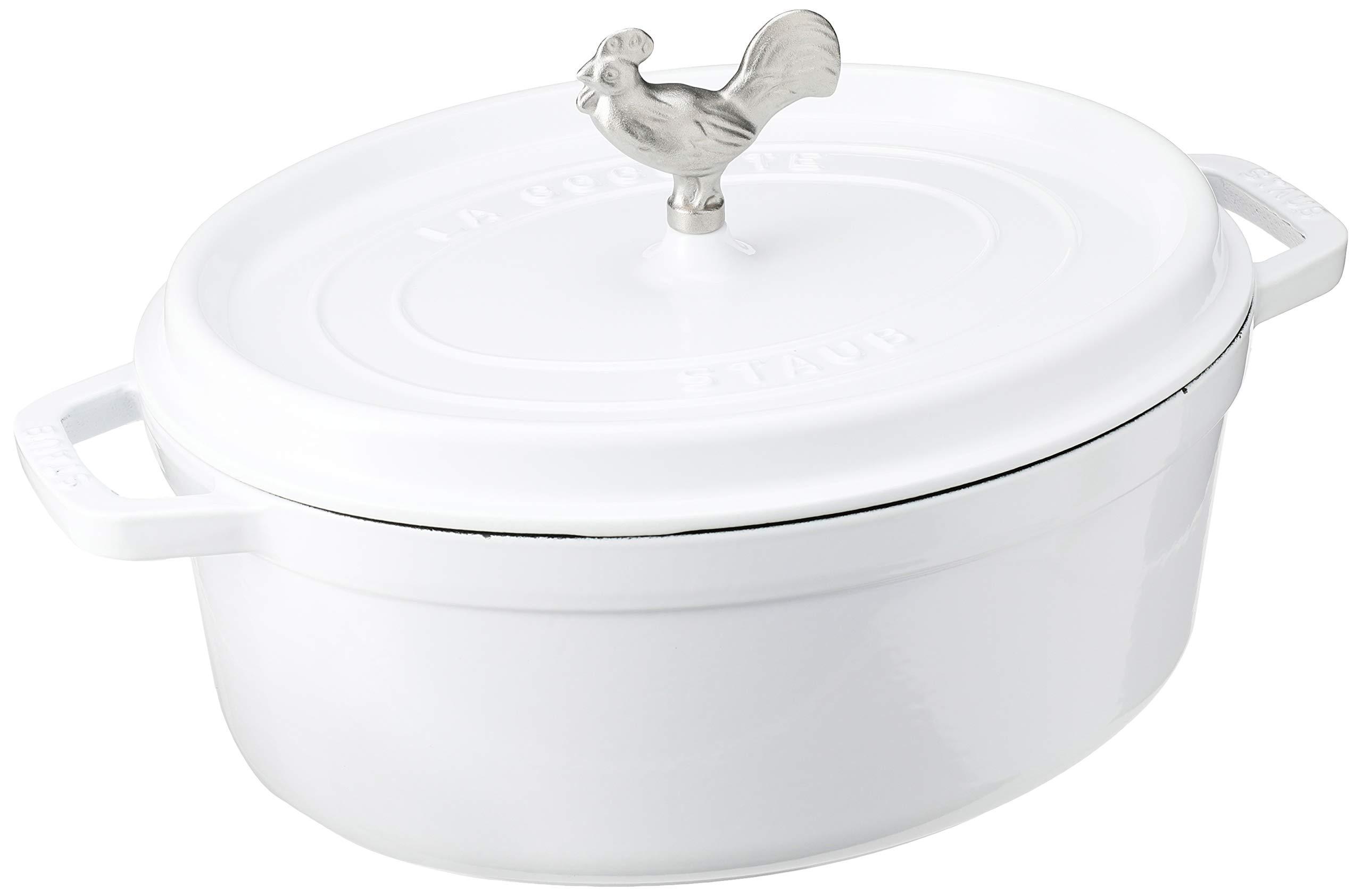 STAUB Cast Iron Coq au Vin Cocotte, 5.75-quart, White