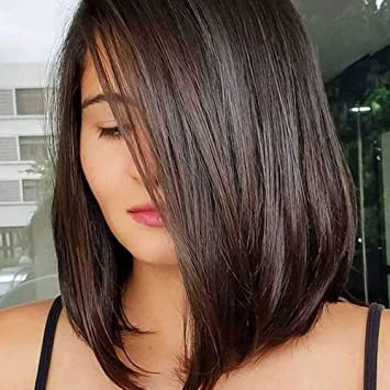Amazon Com Queentas 14inch Shoulder Length Wig Short Bob Natural Looking Straight Synthetic Medium Hair Wigs For White Women With Wig Cap Dark Brown 4 Beauty