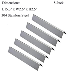 """GasSaf 15.3 inch Flavorizer Bar Replacement for Weber 7636,Spirit 300 E-310 E-320 Series,Weber 46510001,47513101 Gas Grill and others, 5-Pack 304 Stainless Steel Durable Heat Plate(15.3""""x 2.6""""x 2.5"""")"""