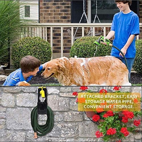 HONGFU Garden Hose 100ft 30m Strongest Double Latex Inner Tube Prevent Leaking Magic Garden Hosepipe with 9Function Spray Gun+Solid Brass Fittings (100 Feet/ 30M Black and green)