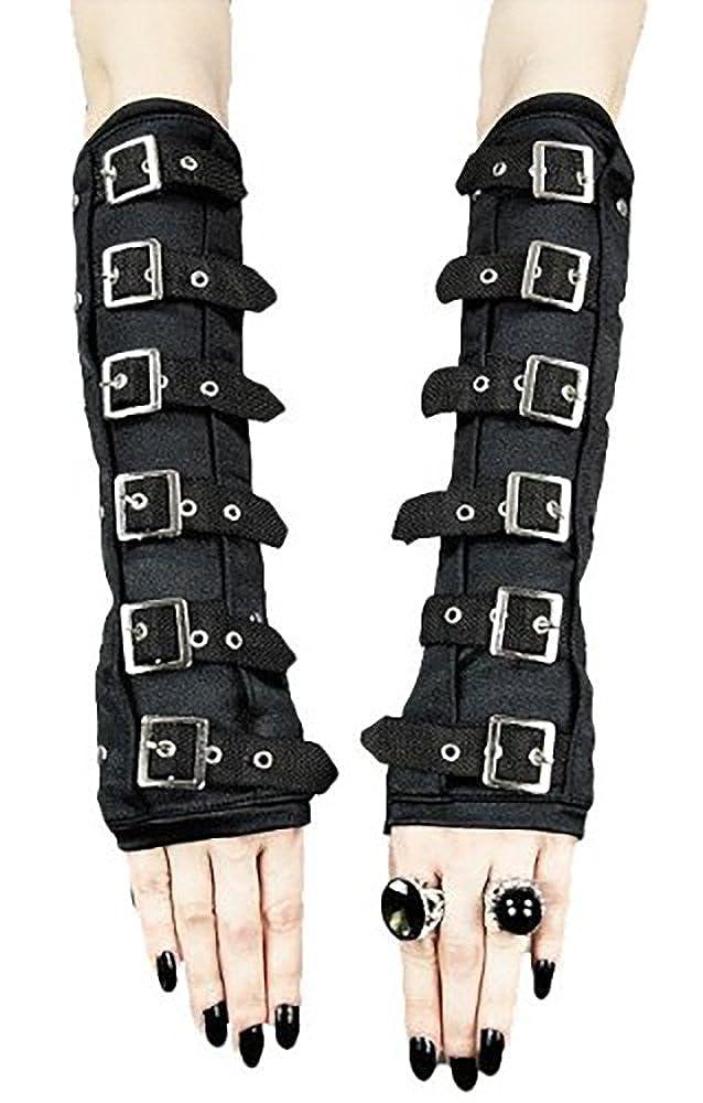 MARKENARTIKEL Armstulpen Handschuhe Gothic Schnallen Ketten Buckle Arm Warmer Gr.XS bis S