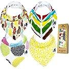Baby Bandana Drool Bibs - Trendy Kitty Unisex Organic Cotton gift set for Boys & Girls