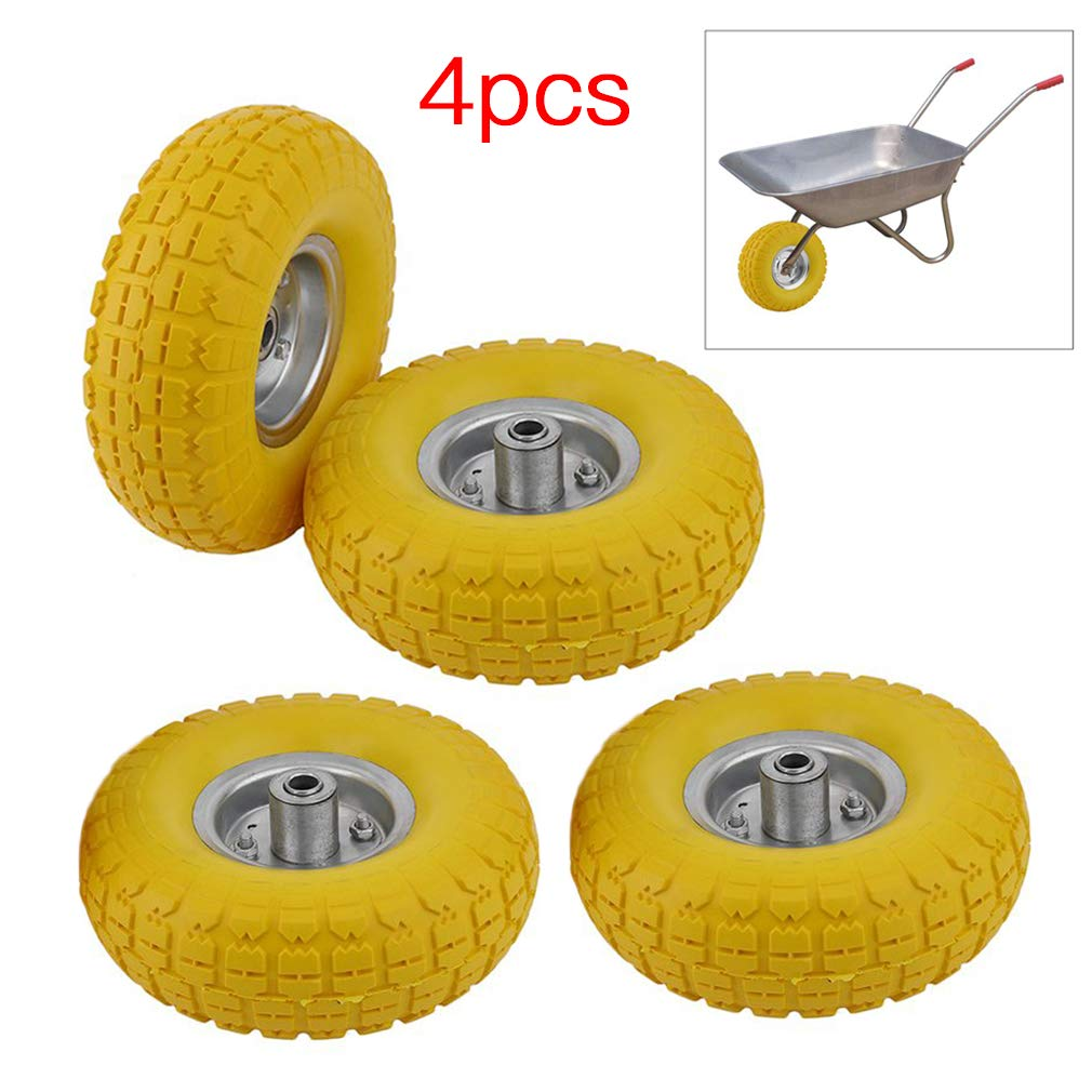 10' Solid Rubber Wheelbarrow, Burrby Wheelbarrow Solid Rubber Wheel Tyre Tires Cart Wheelbarrow, Tyre and Axle Wheel Bearing for Garden Cart, Barrow, Trolley (4PCS)