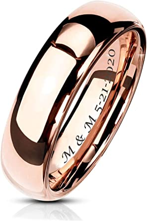 Nautical Ring 8mm Tungsten Ring FREE SHIPPING FREE Custom Engraving 14K Rose Gold Tungsten Band with Step Edge Anchor Ring Couple Rings