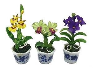 3pc Miniature Flower Clay Dollhouse Fairy Garden Mini Plant Trees Ceramic Paint Furniture Bundles Artificial Flowers Tiny Orchid #079