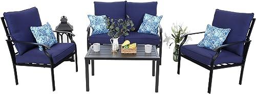 MFSTUDIO 4 Piece Outdoor Metal Furniture Sets Patio Cushioned Conversation Set