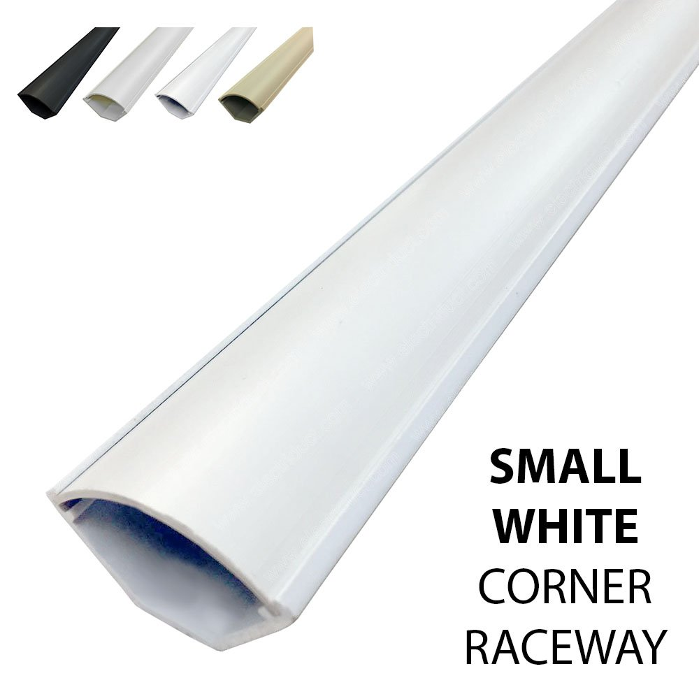 Small Corner Duct Cable Raceway (1075 Series) - 5 Feet - White - 20 Sticks
