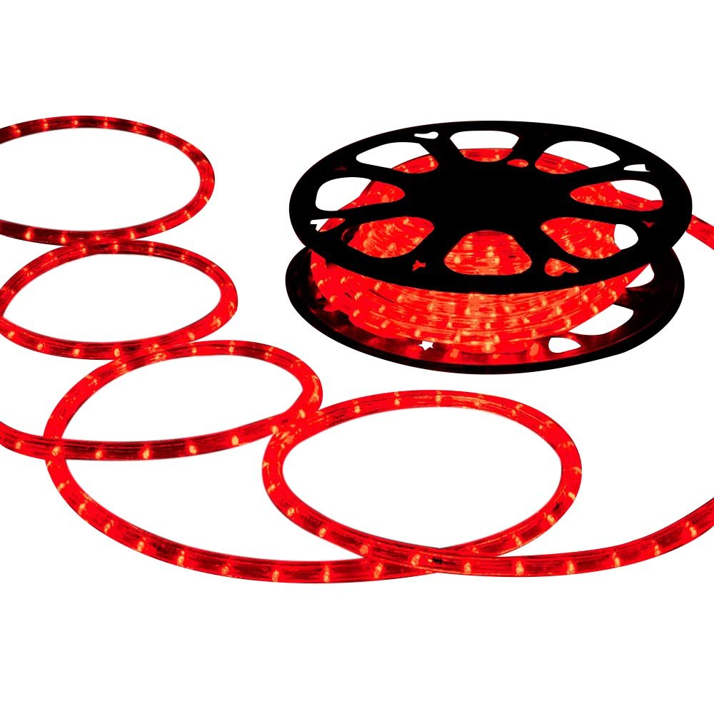 DELight 150 FT Red 2 Wire LED Rope Light Indoor Outdoor Home Holiday Valentines Party Restaurant Cafe Decoration
