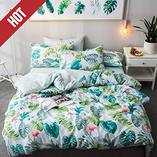 【Latest Arrival】 Green Duvet Covers Kids Duvet Cover Twin Cotton Jungle Forest Duvet Set Leaves Duvet Cover Tree Palm Botanical Comforter Cover Soft for Children Boys Girls,NO Comforter NO Sheet (Twin Tropical Quilt Set)