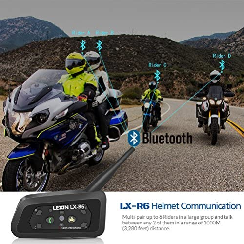 LEXIN 1PC Bluetooth Motorcycle Helmet Headset kit up to 6 Riders Specially Designed for Motorcycle Rider GPS A2DP Stereo Music Stream;Waterproof Support Wireless intercom Interphone