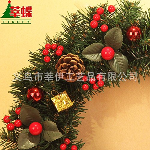Christmas Garland for Stairs fireplaces Christmas Garland Decoration Xmas Festive Wreath Garland with Christmas wreath restaurant wreath wall hanging rattan wreath,50cm