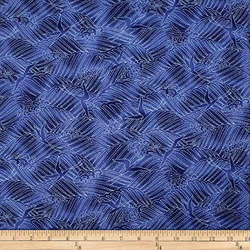 Trans-Pacific Textiles Asian Blender Tsuru Crane in Flight Navy Fabric by The Yard (Trans Pacific Flight)