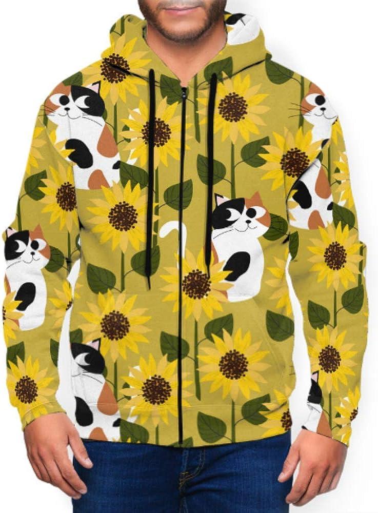 Long Sleeve Hoodie Print Calico Cat Sunflower Field Jacket Zipper Coat Fashion Mens Sweatshirt Full-Zip S-3xl