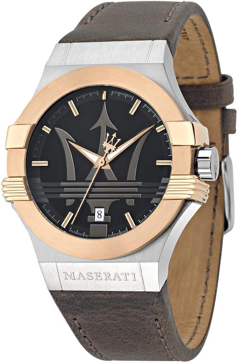 Reloj para Hombre, Colección Potenza, en Acero, PVD Oro Rosa, Cuero - R8851108014